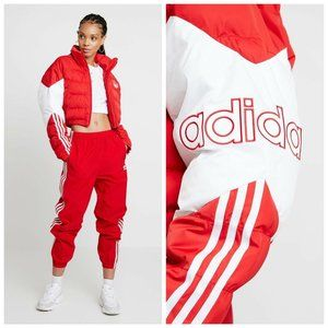 Adidas Originals Cropped Puffer Jacket Red White